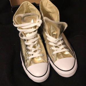 Gold Converse Hi-top gold all stars size 9 wms